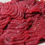 Basashi (raw horsemeat) from Towada. Photograph taken by Richard W.M. Jones and released under the GFDL.